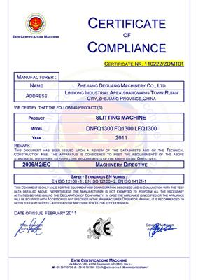 Cutting machine CE certification